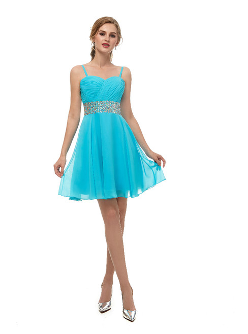 Blue Chiffon Spaghetti Straps Homecoming Dress With Crystal