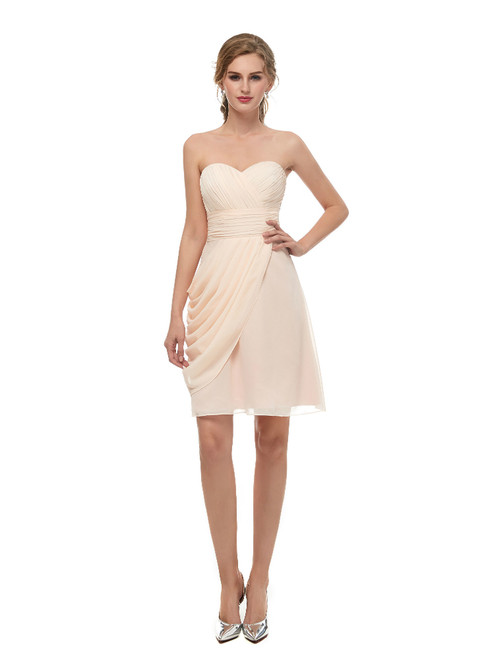 Pink Sweetheart Neck Chiffon Homecoming Dress With Pleats