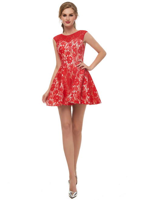 A-Line Red Lace Sleeveless Mini Homecoming Dress
