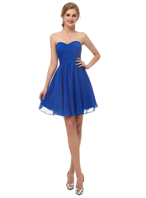 A-Line Blue Chiffon Sweetheart Neck Homecoming Dress With Pleats