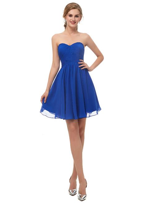 A-Line Blue Chiffon Sweetheart Neck Homecoming Dress With Pleats