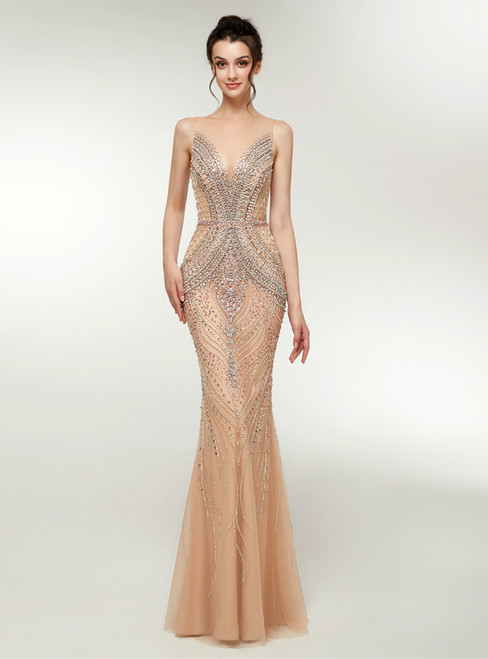 Sexy Champagne Tulle See Through Neck Prom Dress With Crystal