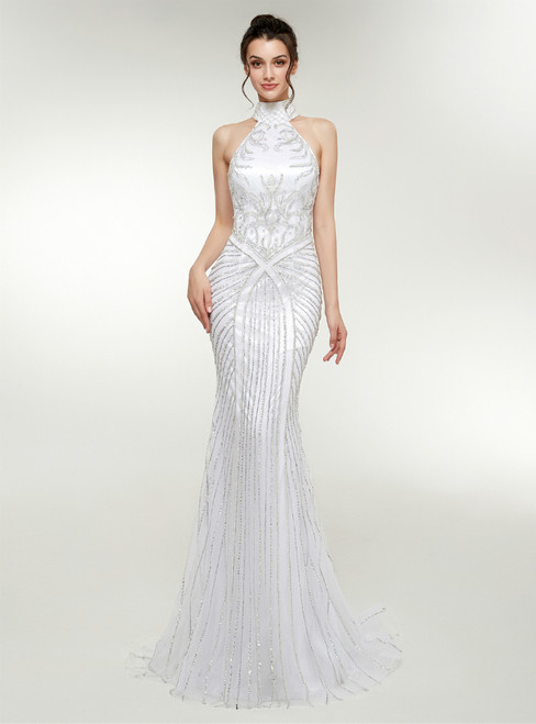 White Mermaid Tulle High Neck Backless Prom Dress With Beading