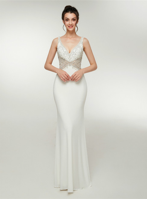 White Meramid Deep V-neck Backless Prom Dress With Crystal
