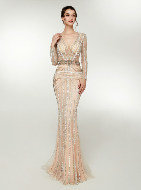 Champagne Mermaid Tulle Long Sleeve Prom Dress With Crystal