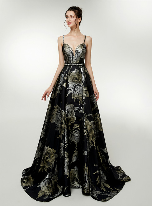 A-Line Black Satin Spaghetti Straps Print Backless Prom Dress
