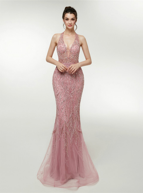 Pink Mermaid Tulle Halter Backless Prom Dress With Beading