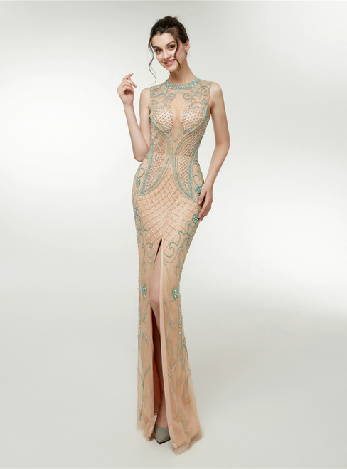 Champagne Tulle Mermaid Floor Length Prom Dress With Beading
