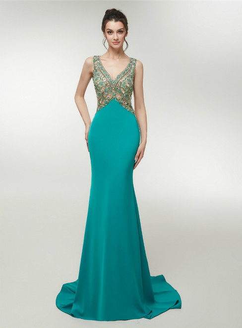 Sexy Green Satin Mermaid Backless Prom Dress With Crysatl