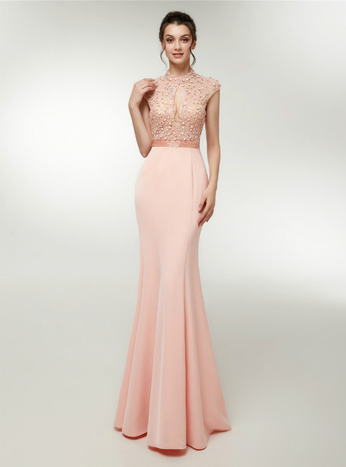 Pink Satin Mermaid High Neck Backless Prom Dress With Beading