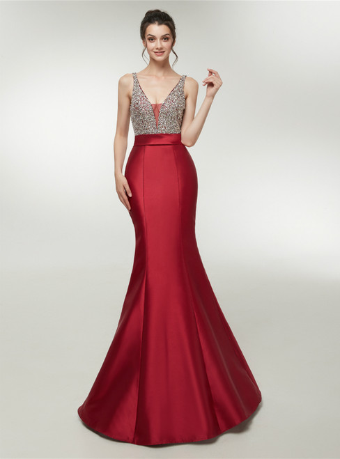 Red Satin Mermaid V-neck Backless With Beading Prom Dress