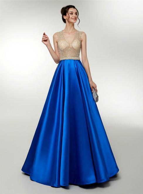 Royal Blue Satin V-neck Floor Length Prom Dress With Beading
