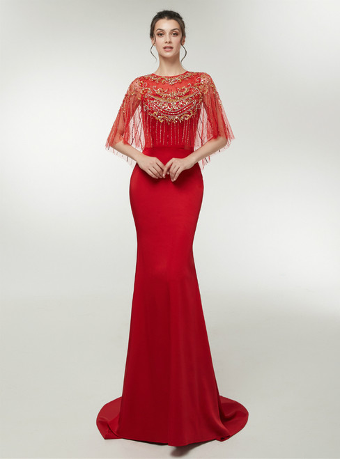 Red Mermaid Satin Floor Length Prom Dress With Crystal