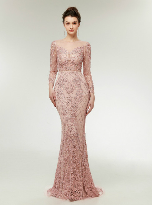 Pink Mermaid Lace Appliques Long Sleeve Prom Dress With Pearls