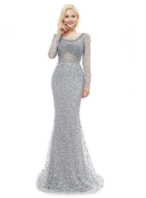 Gray Lace Mermaid Long Sleeve Backless Pearls Prom Dress