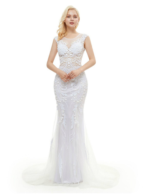 White Tulle Mermaid Tulle Sequins Backless Prom Dress With Pearls