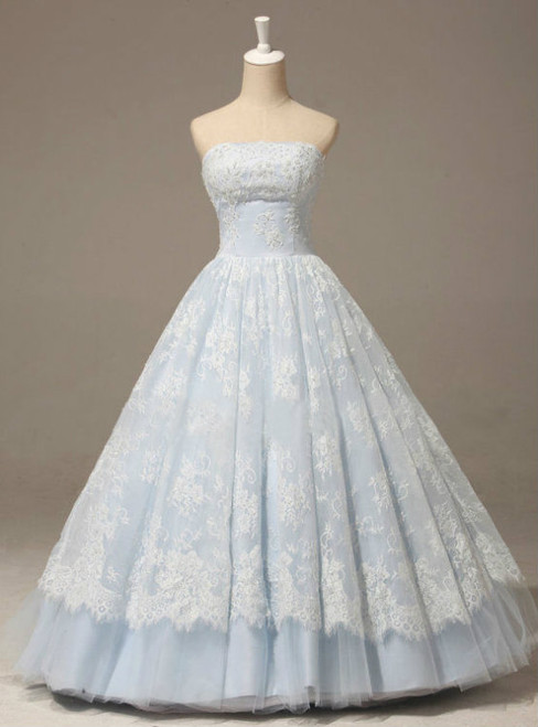 Strapless A-line Lace Applique Quinceañera Dress in Baby Blue