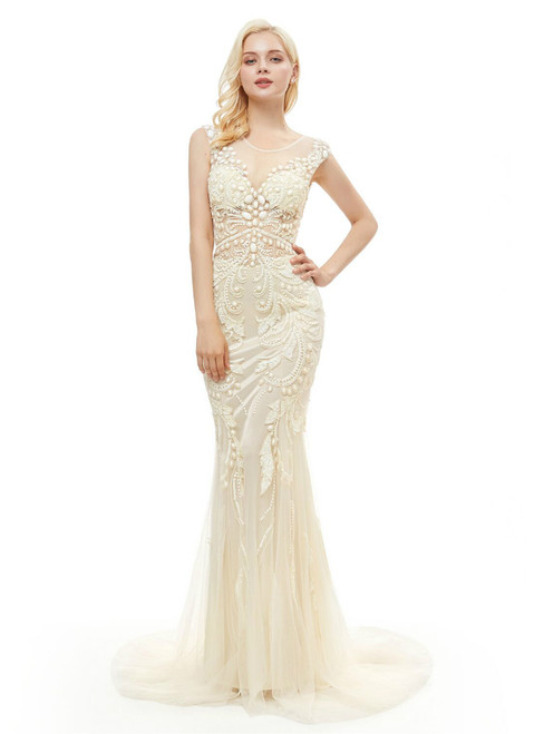 Champagne Tulle Mermaid Tulle Sequins Backless Prom Dress With Pearls