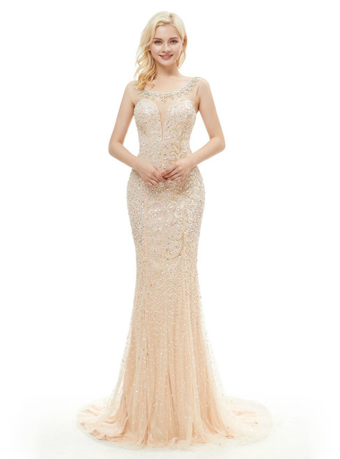 Champagne Tulle Sequins Mermaid Prom Dress With Beading