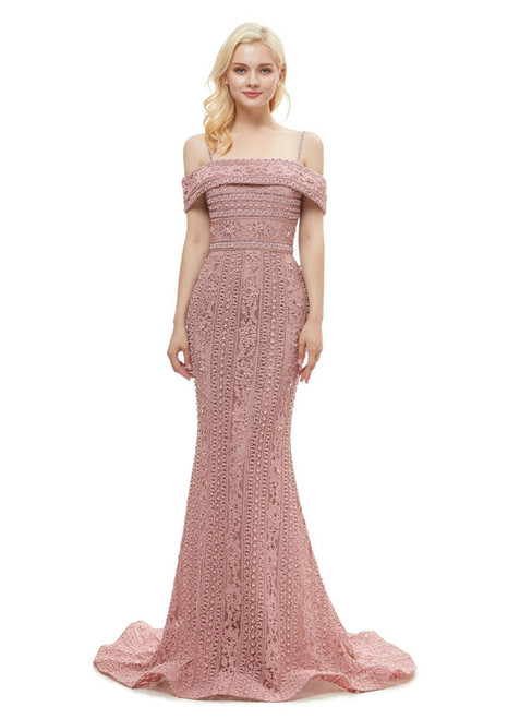 Pink Mermaid Spaghetti Straps Lace Floor Length Prom Dress