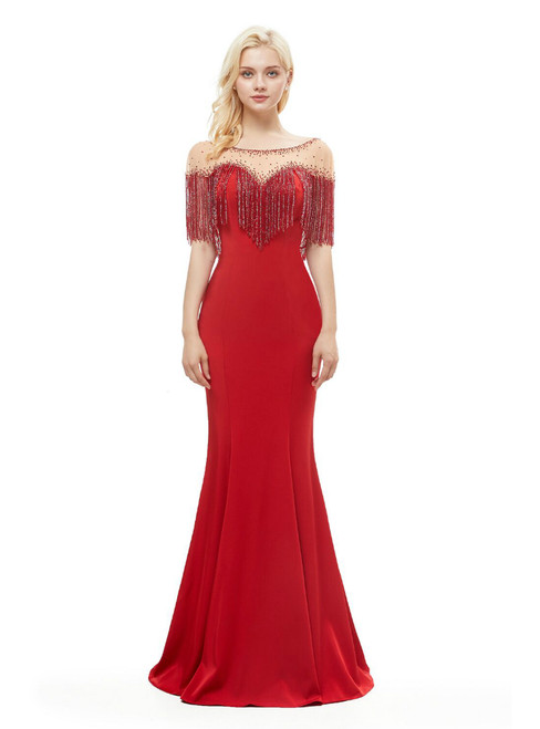 Red Satin Mermaid See Through Neck Prom Dress With Beading