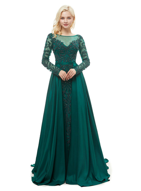 A-Line Green Satin Long Sleeve Floor Length Prom Dress