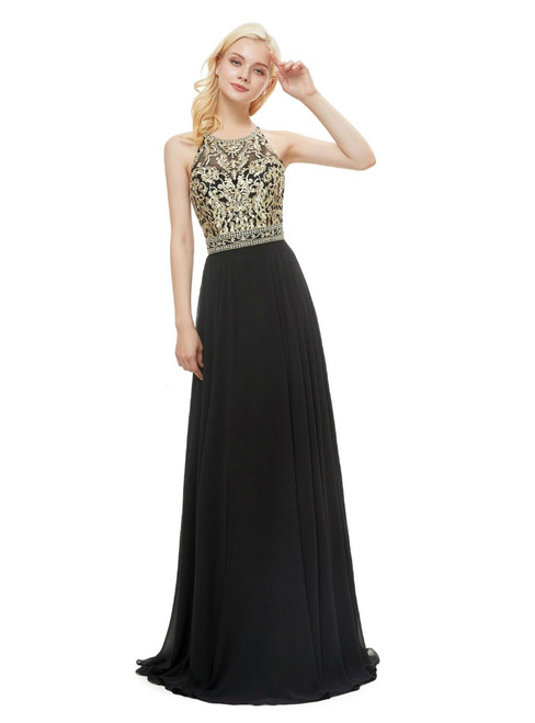 Black Chiffon Embroidery Halter Backless Floor Length Prom Dres