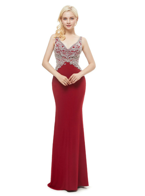 Red Mermaid V-neck Backless Floor Length Prom Dress With Crystal