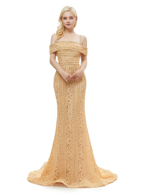Champagne Tulle Lace Mermaid Spaghetti Straps Prom Dress