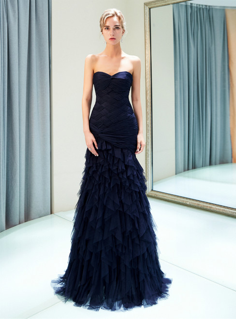 Navy Blue Sheath Sweetheart Neck Tulle Pleats Prom Dress