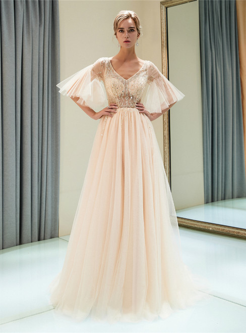 Champagne Pink Tulle V-neck Sequins Floor Length Prom Dress
