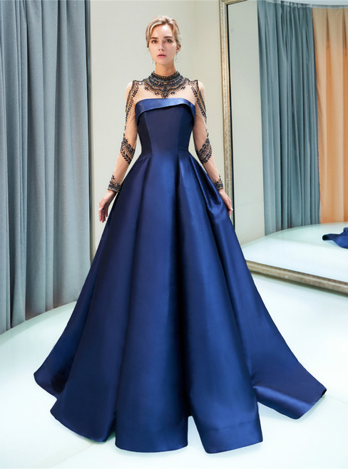 A-line Blue Satin High Neck Long Sleeve Prom Dress With Beading
