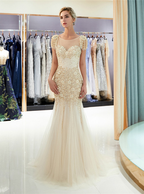 Champagne Meramid Tulle Cap Sleeve Backless With Beading Prom Dress