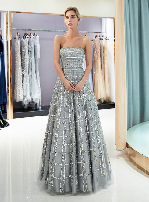 Silver Tulle Sequins Strapless Backless Floor Length Prom Dress