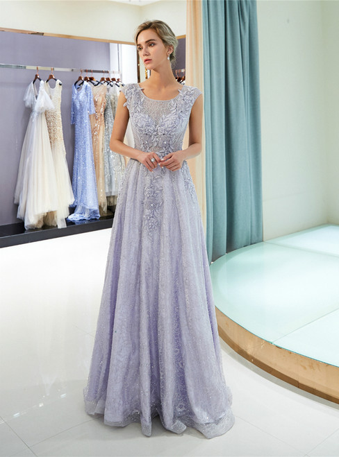 A-Line Sexy Silver Lace Appliques Floor Length Prom Dress