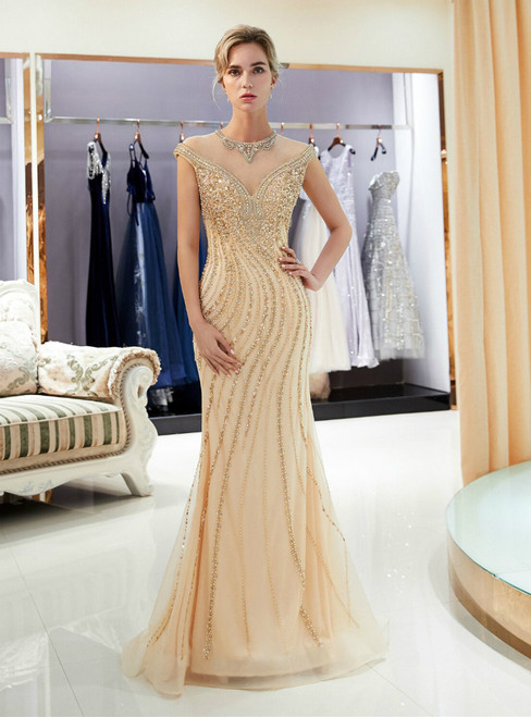 Champagne Mermaid Tulle Cap Sleeve Beading Prom Dress
