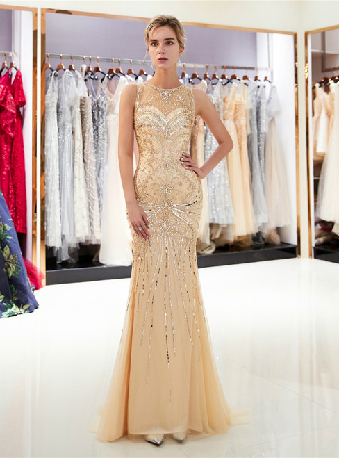 Champagne Tulle Mermaid With Crystal Floor Length Prom Dress