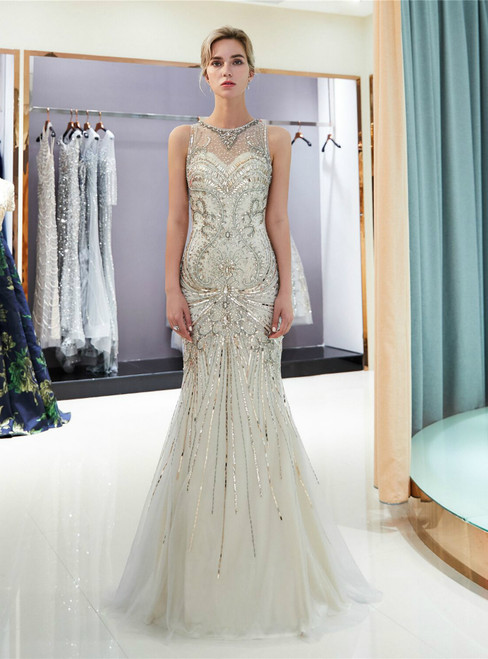 Gray Tulle Mermaid With Crystal Floor Length Prom Dress