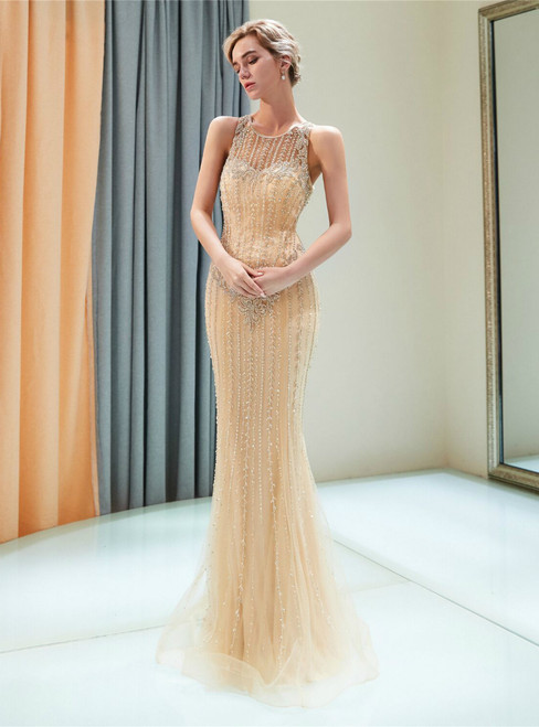 Champagne Tulle Mermaid See ThroughNeck Beading Prom Dress
