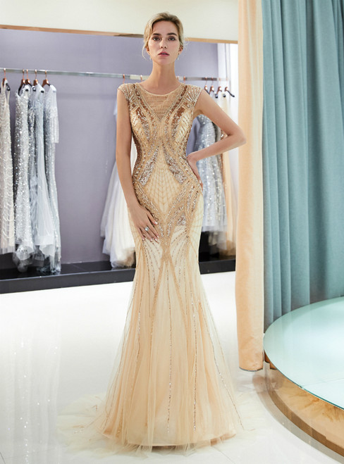 Champagne Tulle Mermaid Sequins Floor Length Prom Dress