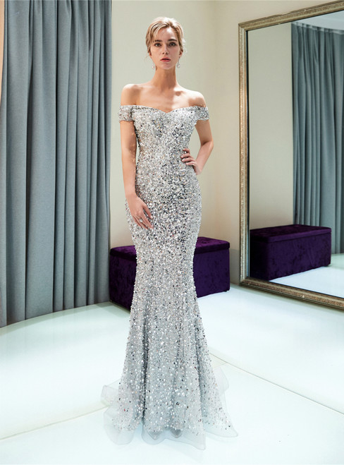 Silver Mermaid Sequins Tulle Off The Shoulder Prom Dress