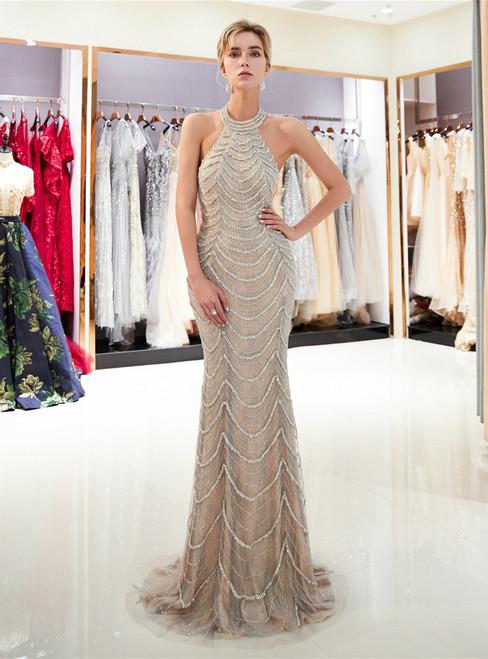 Champagne Halter Tulle Sequins Backless Floor Length Prom Dress