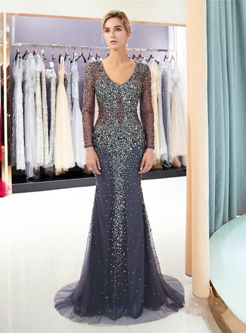 Gray Mermaid Tulle See Through V-neck Prom Dress With Beading