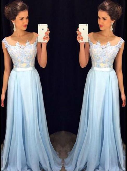 Fashion Baby Blue Prom Dresses Scoop Applique Sheath Chiffon