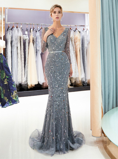Gray Mermaid Tulle Sequins Long Sleeve With Beading Prom Dress