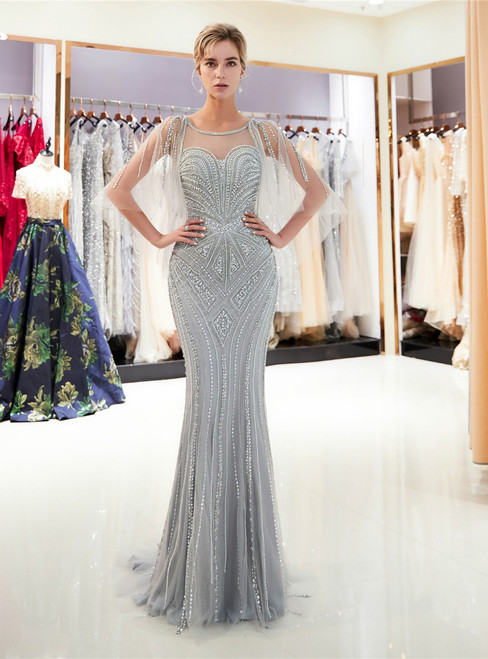 Gray Tulle Mermaid Sequins Cap Sleeve Backless Prom Dress