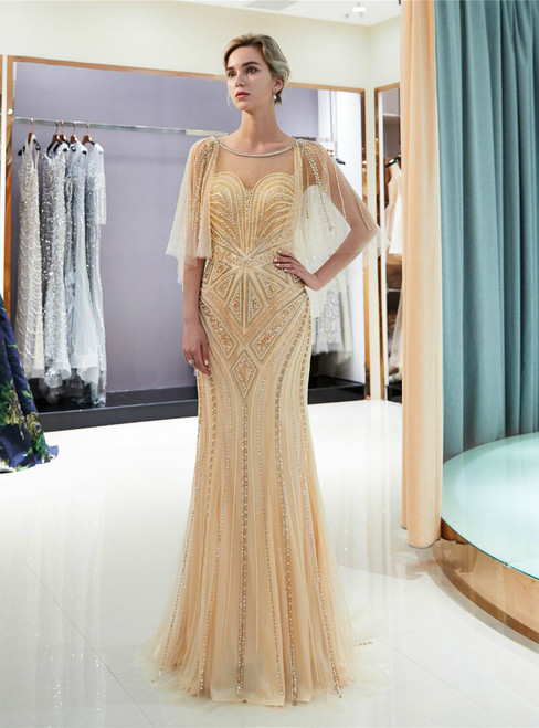 Champagne Tulle Mermaid Sequins Cap Sleeve Backless Prom Dress