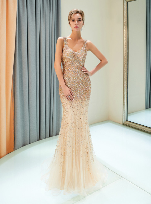 Champagne Tulle Mermaid Sequins See Through Back Prom Dress