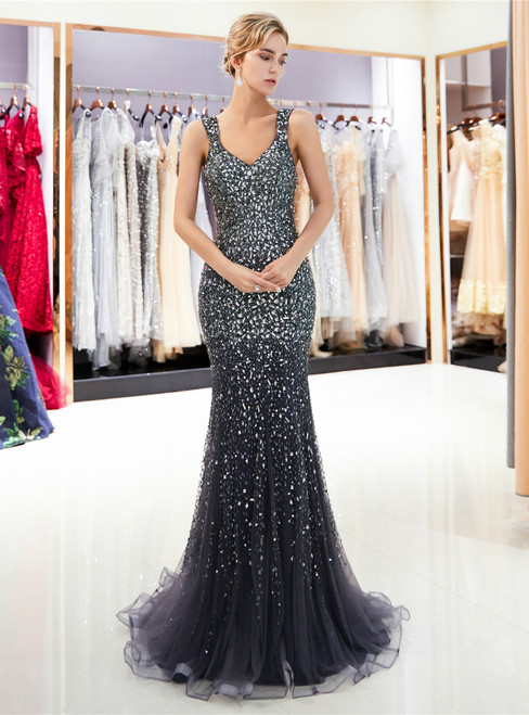 Gray Tulle Mermaid Sequins See Through Back Prom Dress
