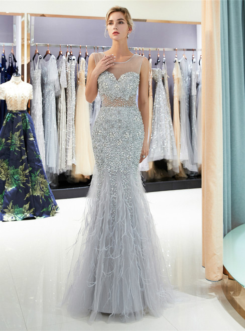 Silver Gray Tulle Sequins Beading Backless Floor Length Prom Dress